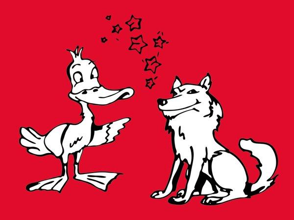 Ente Wolf und Weihnachtsstern