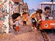 Sandmännchen als Fahrer eines Schienenbusses